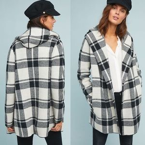 [Anthropologie] NWT Hooded Plaid Sweater Coat